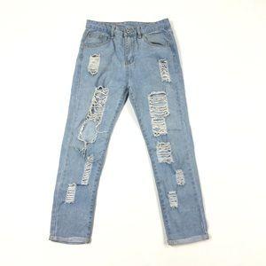 Denim - Women's High Rise Destroyed light Wash Jeans